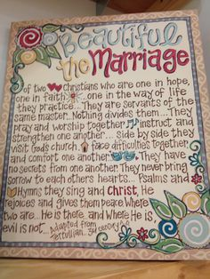 Christian marriage this is so Beautiful! Great Anneversary present