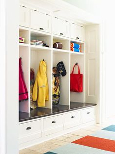 If you don't have a dedicated spot in your home for outerwear, a deep hallway can provide help with the addition of a bench, cubbyholes, doors, and drawers.