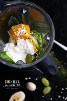 Green Tea And Oat Smoothie - Cook Republic Best Smoothie Recipes, Yummy Smoothies, Yummy Drinks, Healthy Drinks, Green Tea Smoothie, Oat Smoothie, Smoothie Drinks, Eating Raw, Healthy Eating