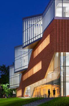 Weiss Manfredi drapes jagged brick sash over facade of Ohio architecture school