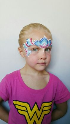 Wonderful fourth of July face paint crown! Done by fanciful face painting