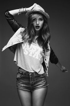 pretty Black and White fashion b&w modeling grey scale almost-full body pose
