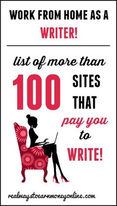 This is a MASSIVE list of more than 100 legitimate sites that pay you to work from home as a writer. With many of these, you can sign up and start earning money today -- even if you are a beginning writer. Making Money Ideas, Make Extra Money #money #workathome #WAHM #workathomemom