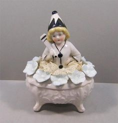 Art Deco Possible Goebel Half Doll Girl Child Pierrot Dresser Trinket Box   eBay