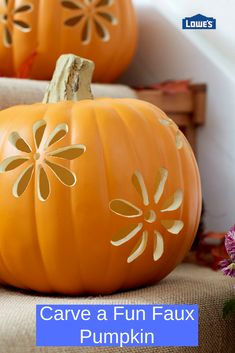 Here's a no-mess alternative to disposable real pumpkins. Carve designs in these pumpkin look-alikes and display them year after year. Faux Pumpkins, Painted Pumpkins, Halloween Pumpkins, Carved Pumpkins, Holidays Halloween, Halloween Crafts, Halloween Decorations, Fall Crafts, Holiday Crafts