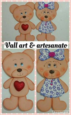 Foam Crafts, Diy And Crafts, Crafts For Kids, Paper Crafts, Baby Cards, Kids Cards, Rose Cookies, Baby Binky, Bear Pictures