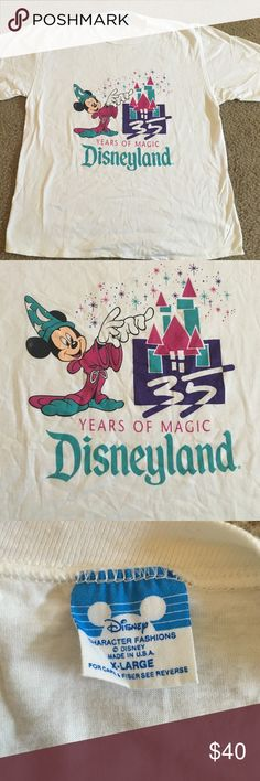 Vintage Disneyland shirt! 35th anniversary Disney Disneyland 35th anniversary vintage shirt. Perfect for a Disney lover! White shirt, XL women's, rare. 35 years of magic Disney Tops Tees - Short Sleeve