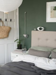 Before and After: the results of my simple, botanical green bedroom makeover – creating a soothing, quiet sanctuary designed around wellbeing Green Bedroom Paint, Green And White Bedroom, Green Master Bedroom, Bedroom Colour Palette, Bedroom Wall Colors, White Bedroom Furniture, Bedroom Color Schemes, Green Rooms, Home Decor Bedroom