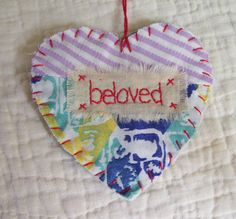 Heart Snippet Ornament - BELOVED - Stitched From Recycled Vintage Quilt Piece