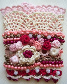 Crochet cuff, Crochet bracelet, Cuff bracelet, Beaded cuff, Boho style cuff, Bohemian jewelry, Floral cuff, Crochet flowers cuff, Roses cuff