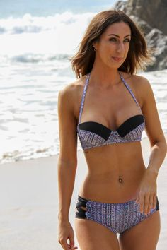 LUXE Bikini with a high waisted cut out detail brief, full underwire bikini top made with premium Brazilian lycra for an amazing fit. Our signature bikini for Summer that draws the eye to create a beautiful silhouette. A super boosting bikini top ensures maximum cleavage and fits up to a F Cup with ease. This is an amazing bikini with the front brief paneling and black stretch side crosses that hug your hips without cutting in.