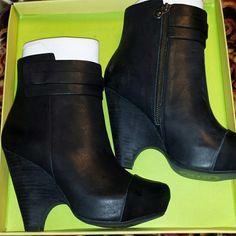 """Maxstudio Nestor Size 7 Wedge Bootie Brand new in box wedge black bootie 4"""" stacked heel 1"""" platform Max Studio Shoes"""