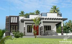 This 3 bedroom contemporary home design has a total floor area of 97 square mete. - This 3 bedroom contemporary home design has a total floor area of 97 square meters with usable roof - Single Floor House Design, House Roof Design, Modern House Floor Plans, Flat Roof House, Modern Exterior House Designs, Modern House Facades, Simple House Design, Contemporary House Plans, House Front