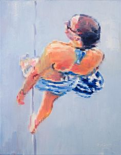 "Original art for sale at UGallery.com | Young Woman Beachgoer at Santa Monica Pier by Warren Keating | $650 | oil painting | 14"" h x 11""w"