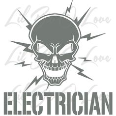 Jul 2014 - Electrician Skull with Electric Bolts Vinyl Decal Sticker Vehicle Custom Decals, Vinyl Decals, Wall Decals, Electric Bolt, Color Show, Are You Happy, Stencils, Stickers, Crafty