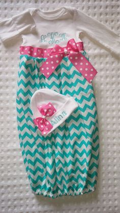 newborn baby girl coming home outfit- monogram newborn gown-monogram baby hat-take me home set monogram gift set-chevron pink baby girl