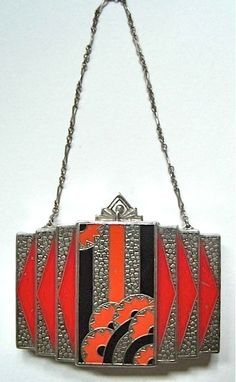Deco scarlet black and rhinestone bag 20s/early 30s?