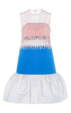 Silk Striped Tulle Dress by DELPOZO Now Available on Moda Operandi