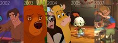 Treasure Planet, Brother Bear, Home on the Range, Chicken Little, and Meet the Robinsons