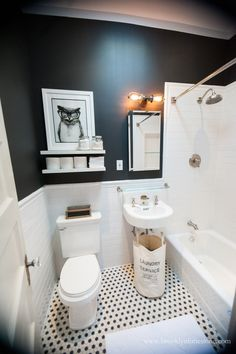 Brooklyn Limestone: Black and White Bathroom Mini Makeover Complete 65 Most Popular Small Bathroom Remodel Ideas on a Budget in 2018 Bathroom Renos, Bathroom Layout, Bathroom Interior, Bathroom Remodeling, Bathroom Designs, Remodeling Ideas, Bathroom Colors, Remodel Bathroom, Budget Bathroom