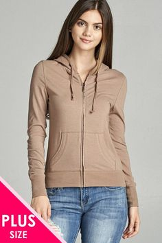 Plus Size Full Zip-Up Closure Hoodie W/Long Sleeves and Lined Drawstring Hood - Deep Khaki