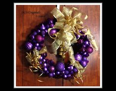 Purple and Gold Christmas Wreath, Shatterproof Purple Ornaments with Gold Ribbon Embellishments and gold glitter bells - handmade by me