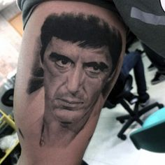 Discover Al Pacino ink with the top 40 best Scarface tattoo design ideas for men. Explore cool iconic mobster themed pieces from the movie. Hand Tattoos, Sleeve Tattoos, Tattoos For Guys, Cool Tattoos, Chicano Style Tattoo, Realistic Tattoo Sleeve, Zeus Tattoo, Famous Tattoos, Al Pacino