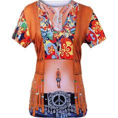 """3a64195dd37eb Damen Shirt mit 3D-Druck. Cooles Motiv """"Hippie"""" für die Party"""