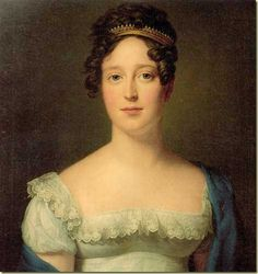 Caroline Amalie av Augustenborg, 1816. Notice the tiara and vandyke point lace around a very open neckline. Interestingly, she wears no earrings or necklace.