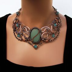 Reverie Necklace of Copper Aqua Crystal and Glass OOAK