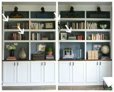 Check out this blog.  Its filled with info on decorating shelves for less.   http://thriftydecorchick.blogspot.com/2012/11/how-to-accessorize-bookcases.html