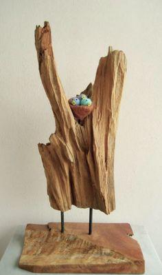 Driftwood sculpture and needlefelt birdsnest with chicks