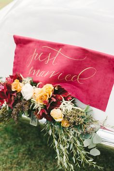 just married calligraphy sign for Luxurious Holiday Wedding Ideas