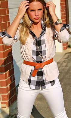 I think I could do this with my blue checkered shirt, white jeans, and tan cardigan.