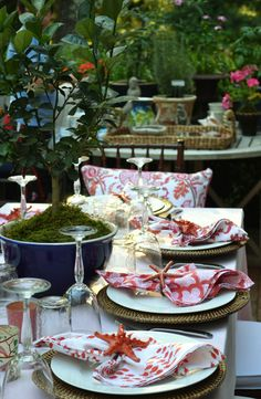beautiful table in the garden