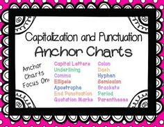 Capitalization and Punctuation Anchor Charts 14 colorful posters that focus on the most common capitalization and punctuation rules. Each poster gives capitalization or punctuation rules and examples for each rule. Included in this file are anchor charts for: capitalization, commas, underlining, question marks, exclamation points, quotation marks, apostrophes, colons, dashes, hyphens, semicolons, parentheses, brackets, periods, and ellipsis.