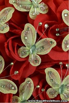 "2"" WIRED DECORATION BUTTERFLY APPLE GREEN PKG/20"
