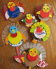 Cereal Box Turkeys. Made these for our teachers last year and they were a big hit! Doing it again this year. Hot glued a pin to the back and the teachers wore them all week.