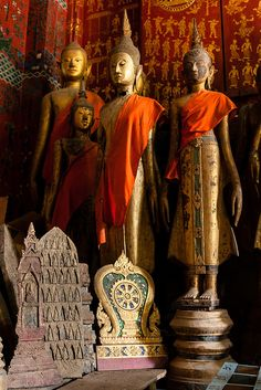 Buddha statues and sculptures in Wat Xieng Thong, Luang Prabang, Laos