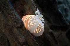 Lace heart paper lantern lights table decoration favours wedding bomboniere - Small. £7.95, via Etsy.