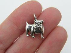 BULK 50 Bulldog charms antique silver tone D21