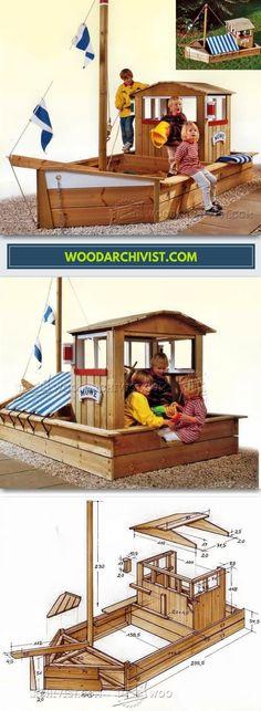 Boat Sandbox Plans - Children's Outdoor Plans and Projects | WoodArchivist.com #woodworkingideas
