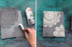 Could be part of our Speed Crafting somehow Doily Canvas Art DIY Tutorial. Would have to use with paper so that I don't ruin my grandmothers doilies. Faire Part Diy, Cute Crafts, Diy Crafts, Ideias Diy, Diy Canvas Art, Canvas Paintings, Canvas Ideas, Canvas Designs, Lace Doilies