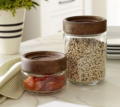 Paddle Wood & Glass Food Canisters #potterybarn