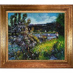 Renoir 'The Seine at Chatou' Hand-painted Framed Art