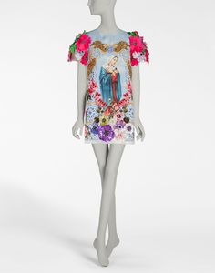 PRINTED SILK ORGANZA DRESS WITH EMBROIDERY