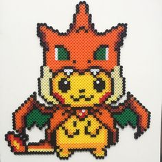 Pikachu Charizard perler beads by perfectlyperled                              …