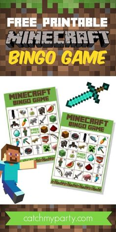 """Download our FREE printable bingo game and play it at your Minecraft party. Print out the ten cards and instructions and pass them out to your party guests. Call out items off the instruction sheet (in random order), and if the guest has the image on their card, they cover it with a marker (pennies and candies work great). The first one to cover an entire row (horizontal, vertical, or diagonal) yells """"Bingo"""" and you've got a winner! See more party ideas and share yours at CatchMyParty.com Minecraft Party Activities, Minecraft Party Decorations, Minecraft Toys, Free Minecraft Printables, Family Party Games, Birthday Party Games For Kids, Minecraft Birthday Party, Video Game Crafts, Backgrounds"""