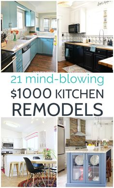 Updating your tired kitchen doesn't have to cost a ton of money - even better it doesn't need to involve hiring a contractor! These amazing budget kitchen makeovers all cost less than $1000 and they are filled with creative diy ideas you can use to remodel any kitchen for cheap. Get great ideas for budget countertops, cabinet makeovers, flooring, backsplashes, hardware, and more. Budget Kitchen Remodel, Kitchen Makeovers, Kitchen On A Budget, Kitchen Decor, Kitchen Ideas, Thinking Outside The Box, Best Budget, Kitchen Organization, Mind Blown