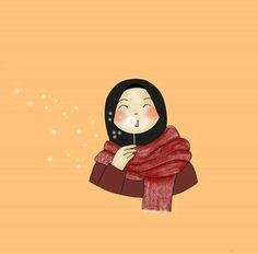 Hijab Drawing, Islamic Cartoon, Anime Muslim, Hijab Cartoon, Islamic Girl, Muslim Girls, Islamic Pictures, Cute Illustration, Cute Cartoon